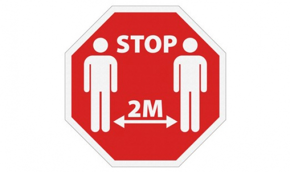 Stop - Two meters between persons
